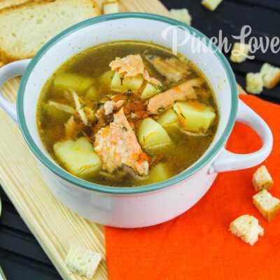Рыбный суп из хребта семги