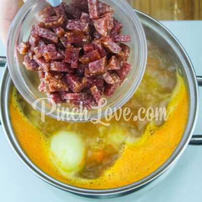 Гороховый суп с сырокопчёной колбаской - шаг 5-1